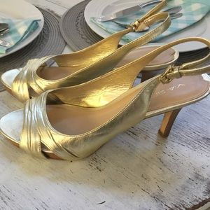 Via Spiga Italian Leather Gold Sling Back Heels